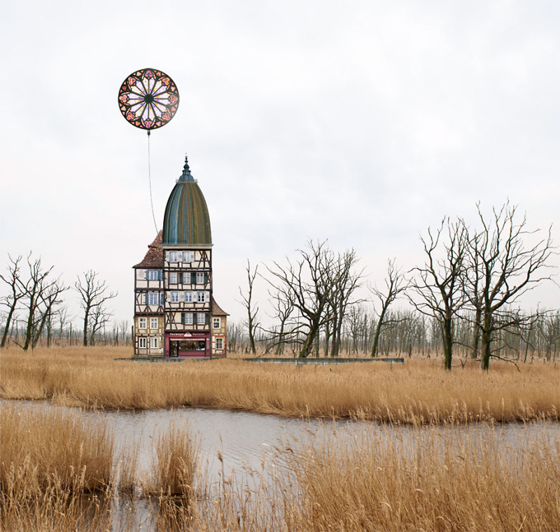 Surreal architectural landscape with floating stain glass ballon